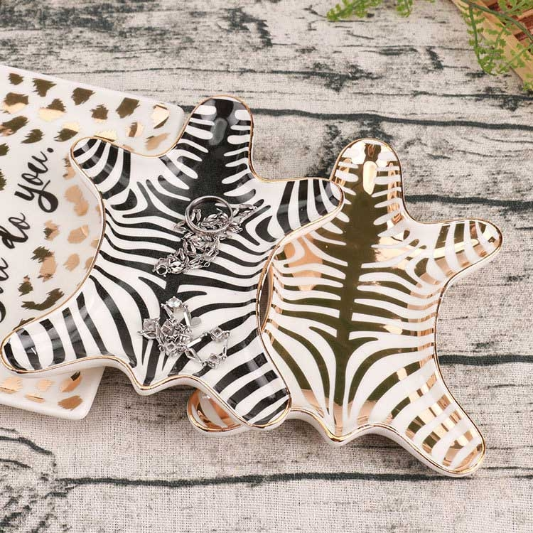 InsFashion high quality fancy zebra pattern and shaped ceramic jewelry dish for gift sets and clever designers