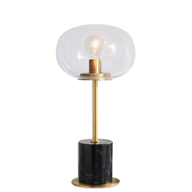 Marble table lamps Modern gold metal lamp body desk light living room bedroom Iron art clear glass lampshade home reading light