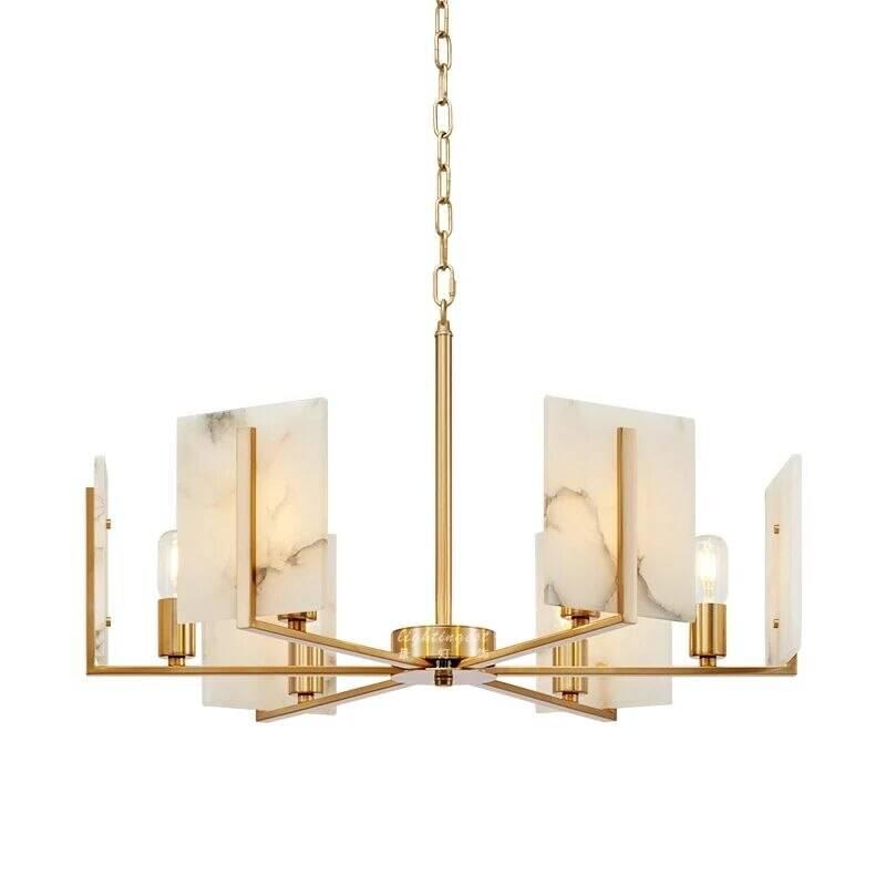 Modern 6 light copper Chandelier Lamp Marble lamphade living room bedroom decoration lighting E27 bulb