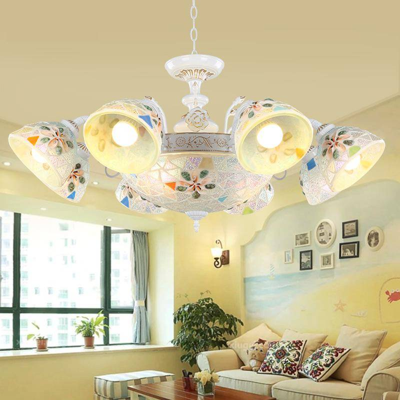 modern living room chandelier Mediterranean Chandeliers Natural Shell Lamps Creative Art Home Lighting dining Tiffany fixtures