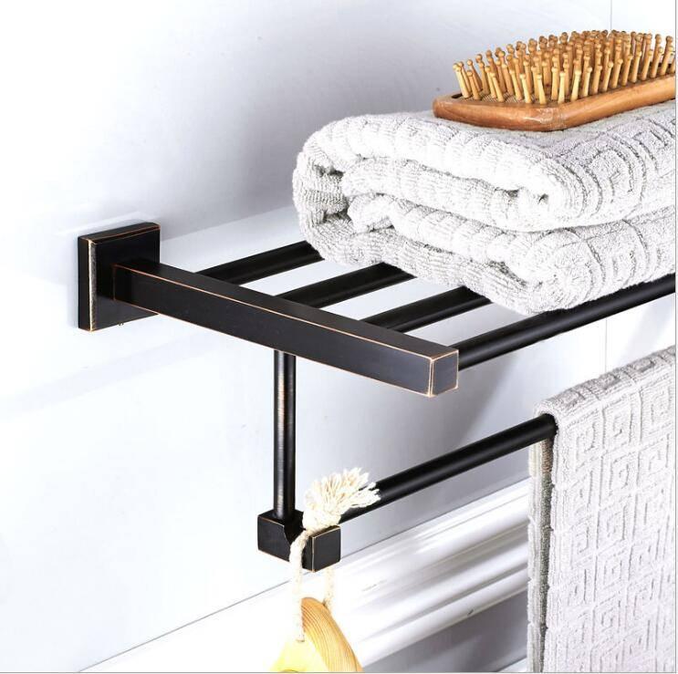 New style black bathroom hardware pendant black bronze brass material Quartet metal pendant towel rack 9032K