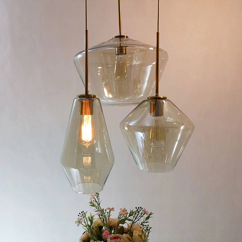 Nordic 3 heads glass Pendant light modern simple clear/Cognac Glass shade Hanging suspension lamp for dining living room Kitchen