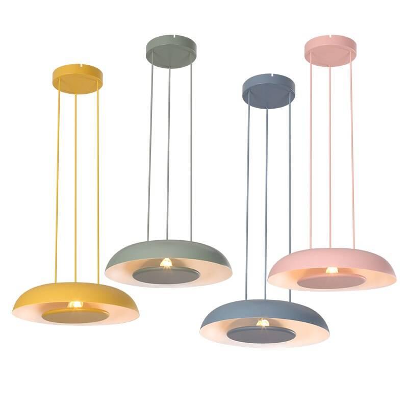 Nordic single head pendant lights macarons post modern minimalist creative foyer lamp creative colorful LED iron art droplight