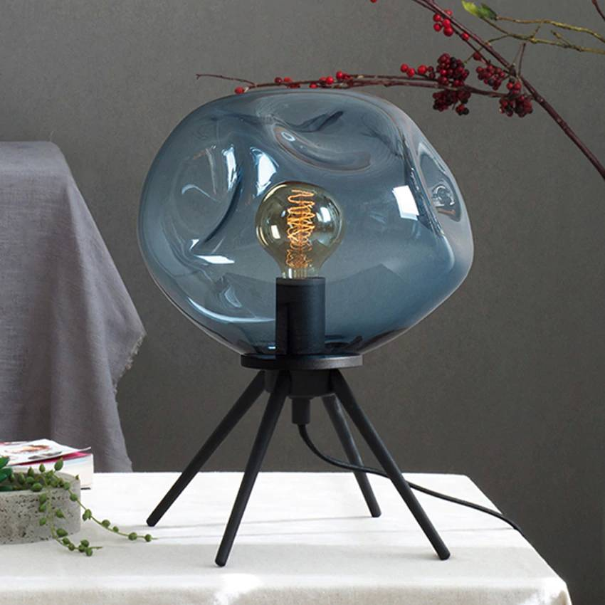 Post modern bedroom glass table lamps creative brown blue clear glass shade iron bracket bedside lamp living room deco desk lamp