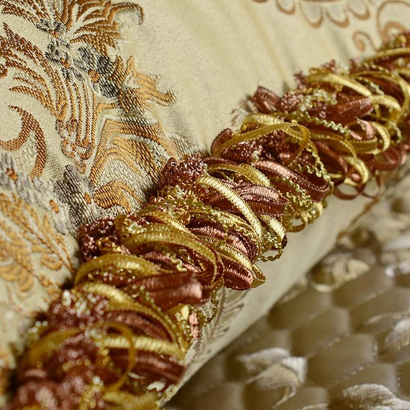 Recommend Gold Noble Cushion Cover Satin Jacquard Home Tassels/Roll Rope Elegant Sofa Clubhouse Car Covers Decor Pillow Cases