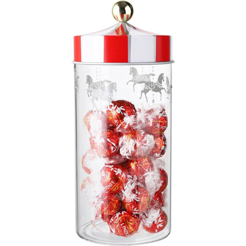 revolving wooden horse creative Sealing tank has lid transparent glass storage bottle coffee cans and tea box candy jar