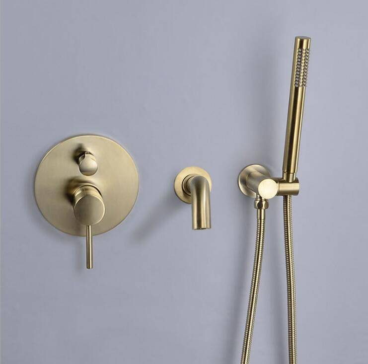 Shower set Nickel Gold Brass Bathroom Shower Set hot and cold Wall Mounted bathtub split wall hidden embedded faucet DXT400