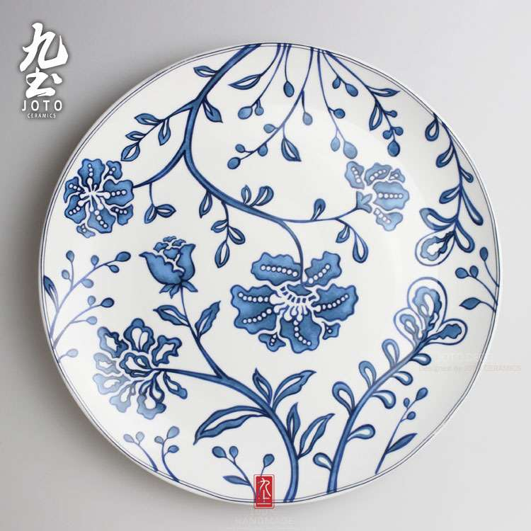 Luxury Modern Mural Wall Hanging Decorative Plate Simple Geometric Lines Blue And White Black Garden Style Home Decor Ceramic Craft