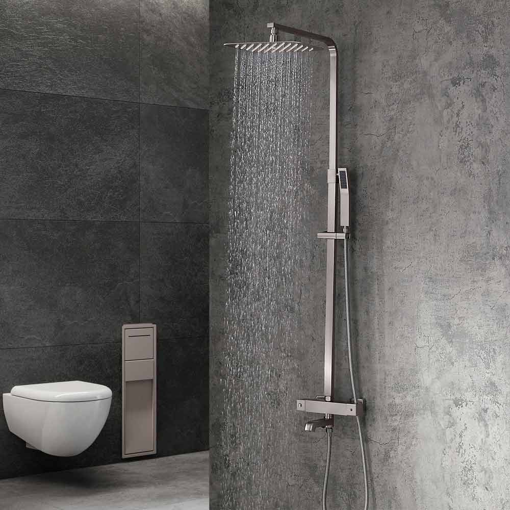 Luxury Modern Exposed Thermostastic Shower System Brushed Nickel Matte Black Shower Faucet With Hand Shower Tub Spout Brass Modern Exposed Thermostastic Shower System Brushed Nickel Matte Black Shower Faucet With